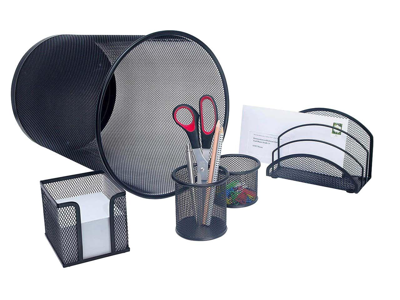 Wedo Office-Set m. Papierkorb Metall schwarz 5-teilig 065101