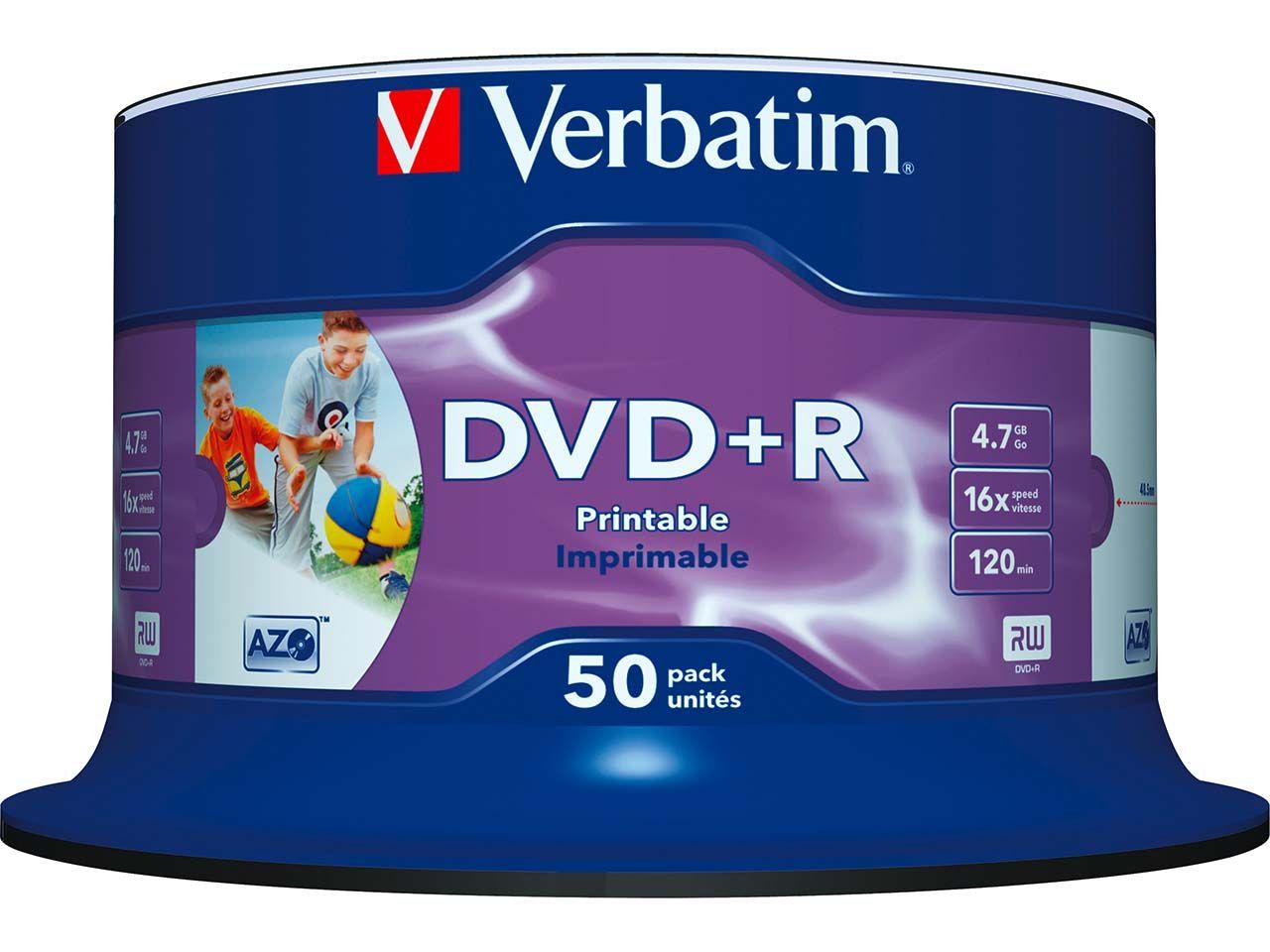 50 Verbatim DVD+R 16x Cakebox Printable 43512