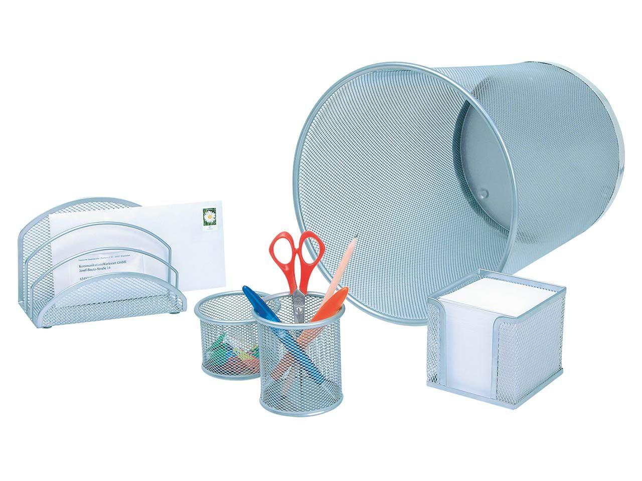 Wedo Office-Set mit Papierkorb Metall silber 5-teilig 065154