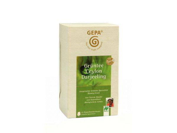 GEPA Grüner Bio-Tee Ceylon Darjeeling 25 x 1,7 g