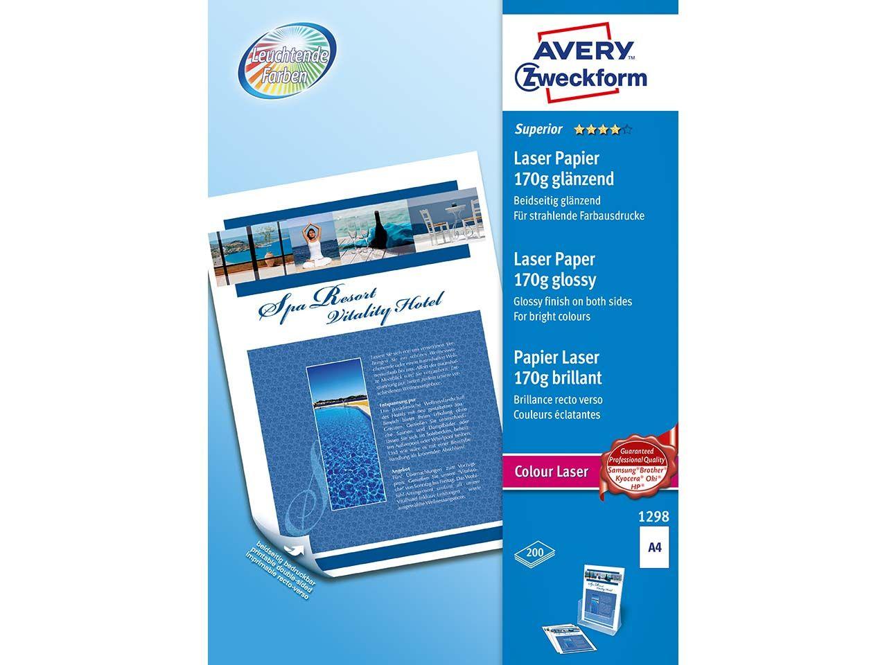 Avery Zweckform 200 Blatt CLP-Papier 170g glänzend 1298
