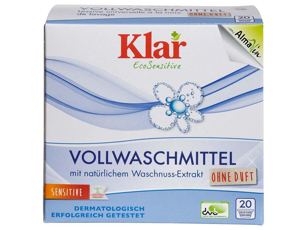 Klar Vollwaschmittel mit Waschnuss-Extrakt