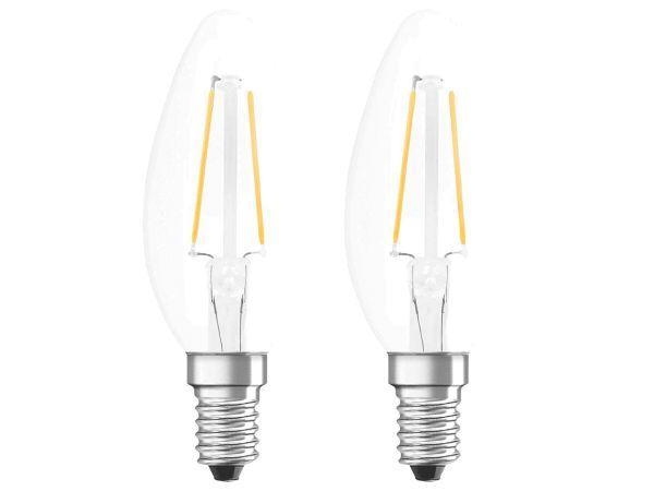 """2er Pack OSRAM LED-Lampe """"Star Filament"""" CLB 25, 2,8 W, E14, 250 lm, klar"""