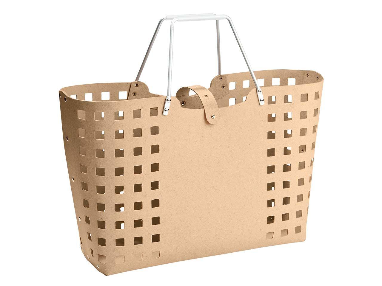 """Einkaufskorb """"Square"""" aus Recyclingleder braun Tragekorb square 0441ALF mit P"""