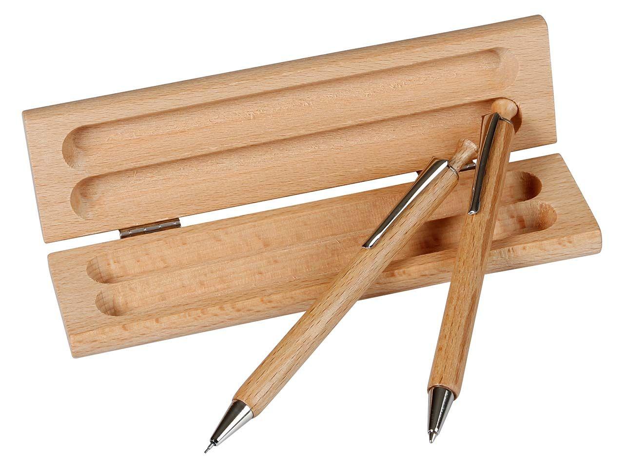 Holzetui eckig mit Druckbleistift und Kugelschreiber