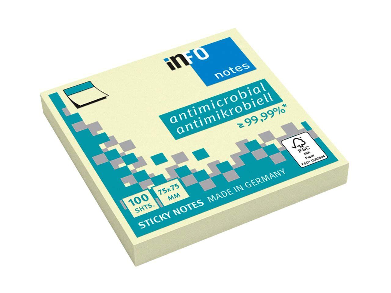 Info Hygienische Haftnotizen antimikrobiell, 12 x 100 Blatt, 75 x 75 mm, gelb 5154-01