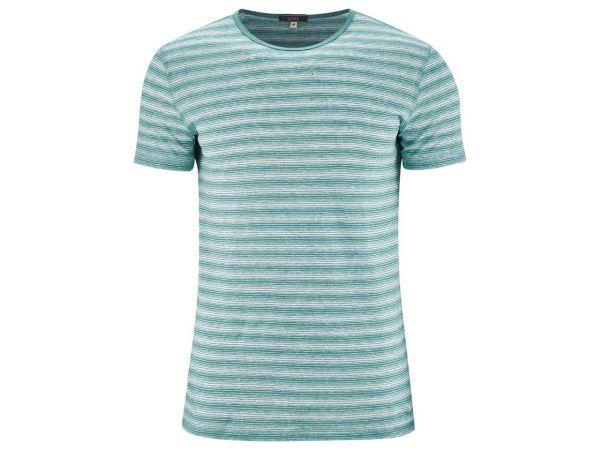 """Living Crafts Bio-Herren-T-Shirt """"Andy"""" aus Leinen lagoon/weiß gestreift, Gr. S"""