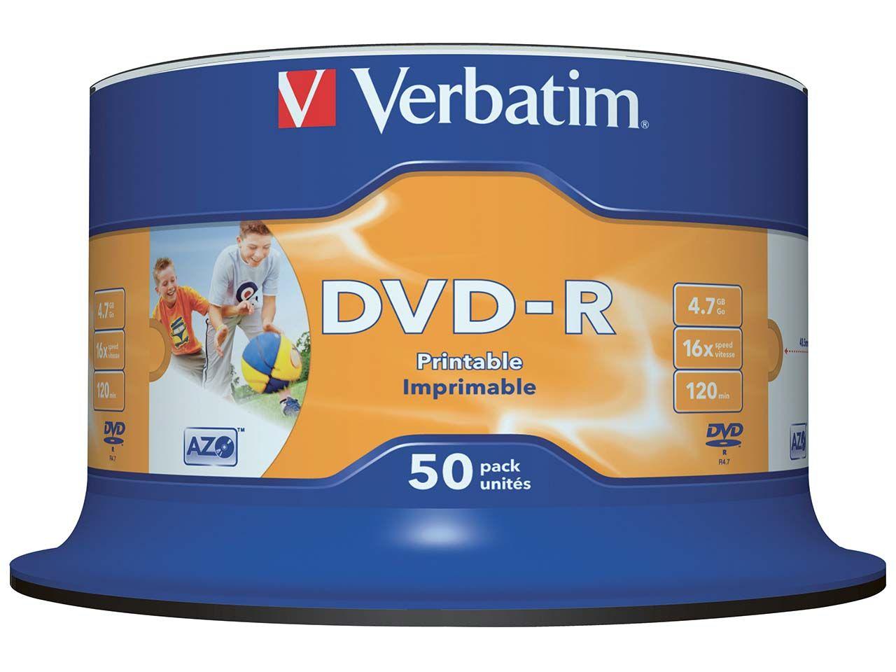 50 Verbatim DVD-R 16x Cakebox Printable 43533