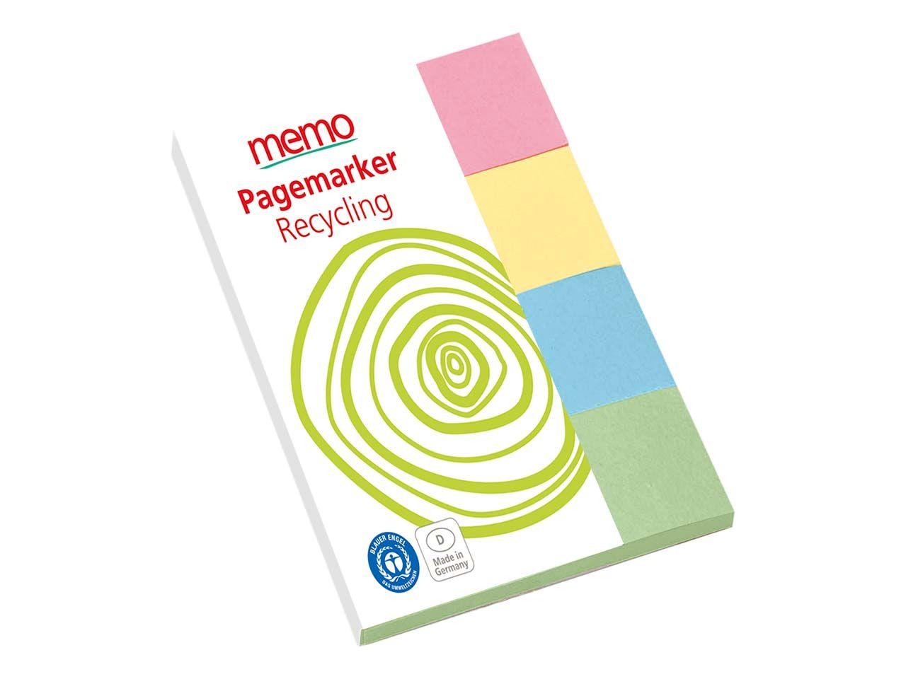 memo Recycling-Haftstreifen 4 x 25 x 75 mm memo pagemarker neu