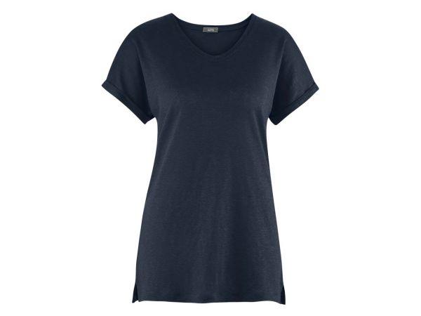"""Living Crafts Bio-Damen-T-Shirt """"Ava"""" aus Leinen ink blue, Gr. M"""