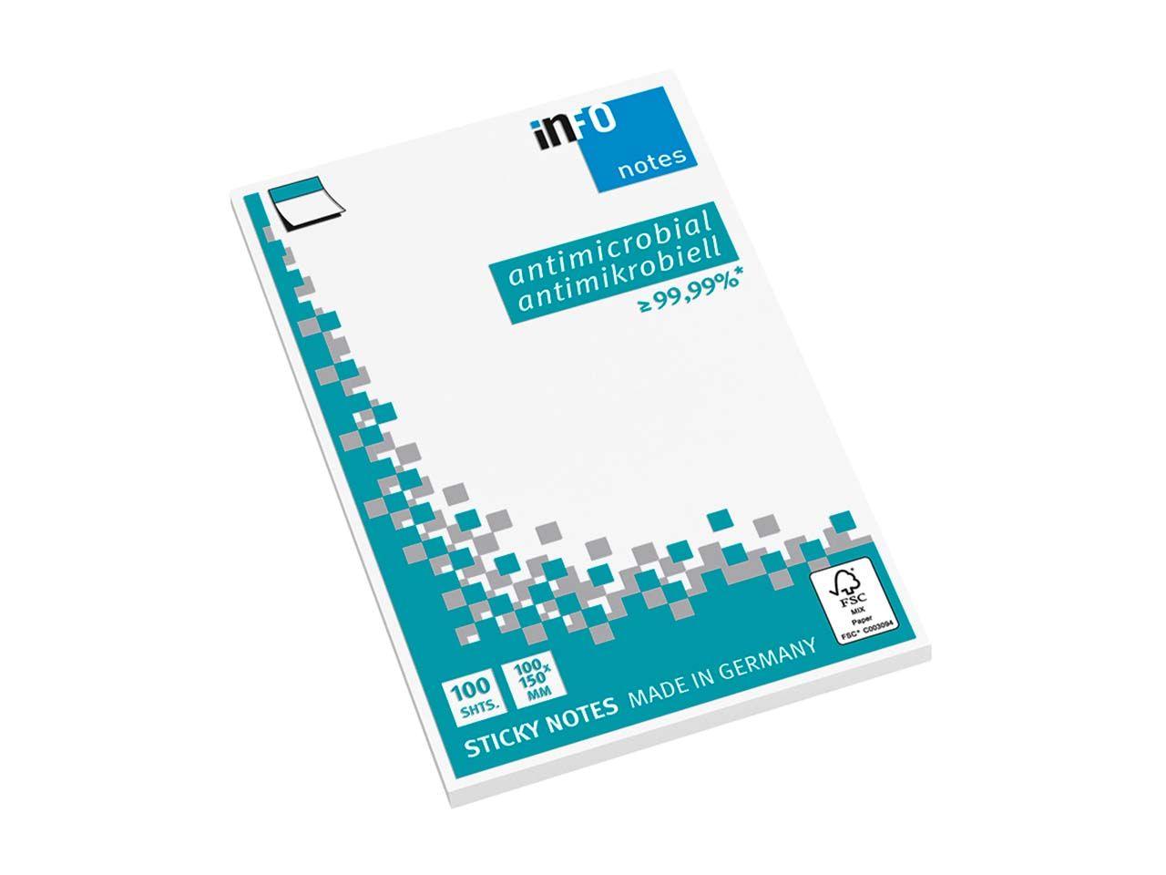 Info Hygienische Haftnotizen antimikrobiell, 12 x 100 Blatt, 100 x 150 mm, weiß 5169-08