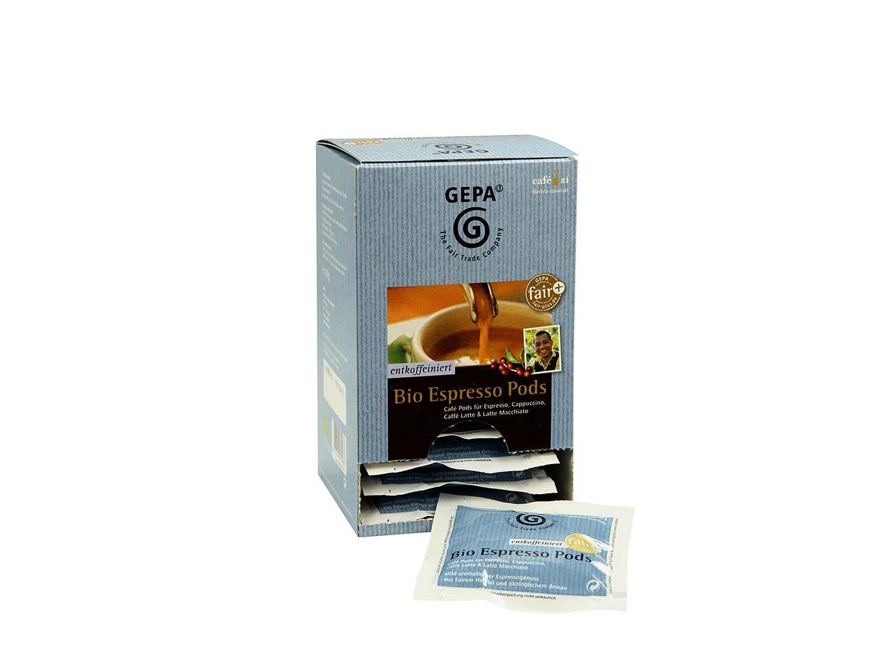 GEPA Bio Kaffeepads für E.S.E.-Siebträgermaschinen, entkoffeiniert, 15 x 6,7 g 8950959