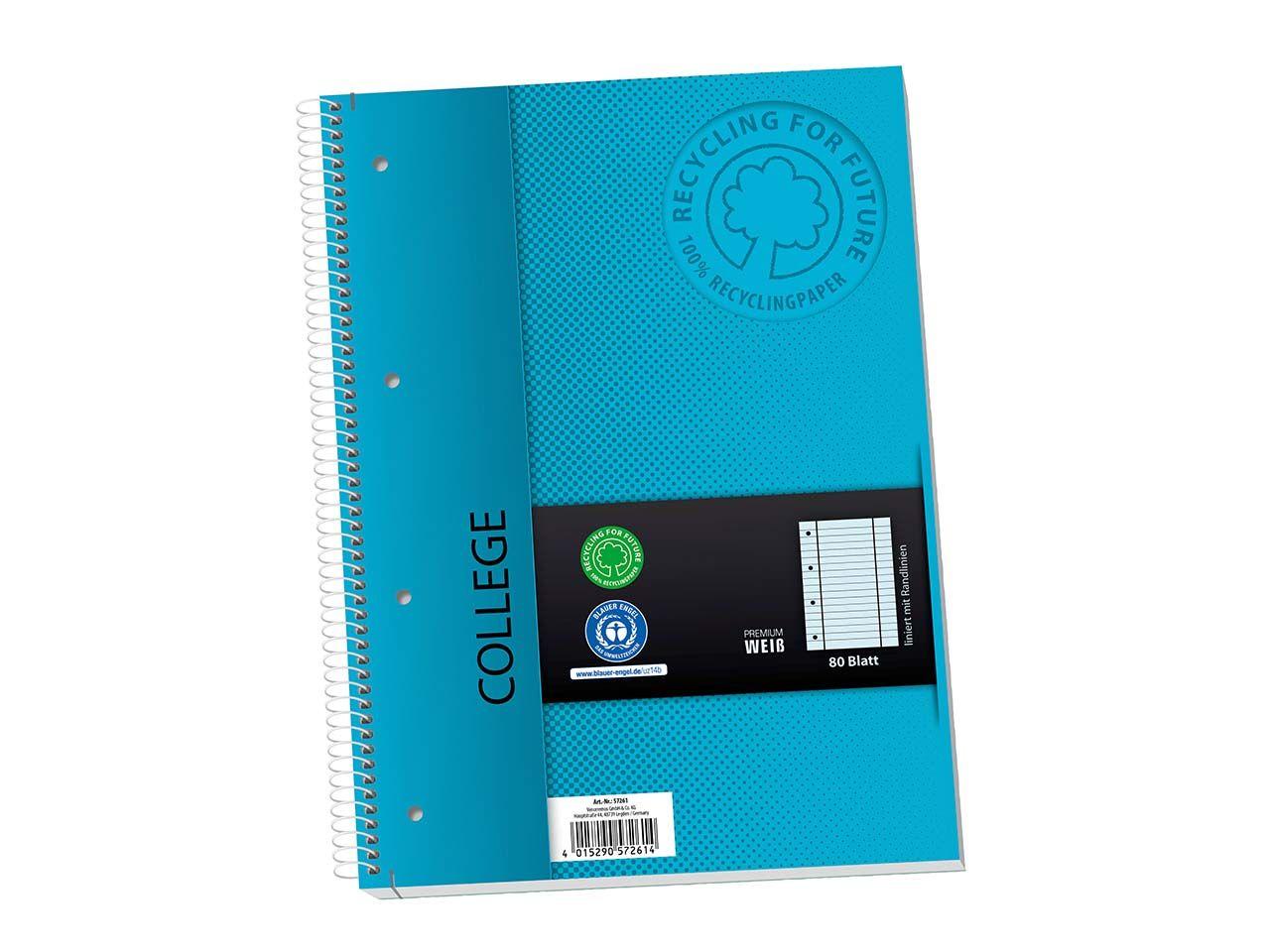 Collegeblock aus Recyclingpapier mit Randlinien, 80 Blatt, liniert 57261