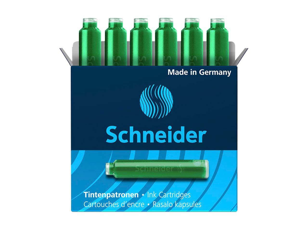 6 Schneider Tintenpatronen 6604 für Füller, grün 50-6604