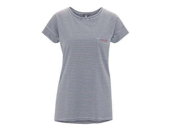 "Living Crafts Bio-Damen-T-Shirt ""Geraldine"" ink blue/offwhite, Gr. L"