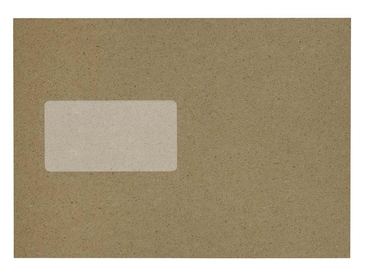 100 Versandtaschen aus Graspapier DIN C5, Haftklebung, mit Fenster, 120 g/m²