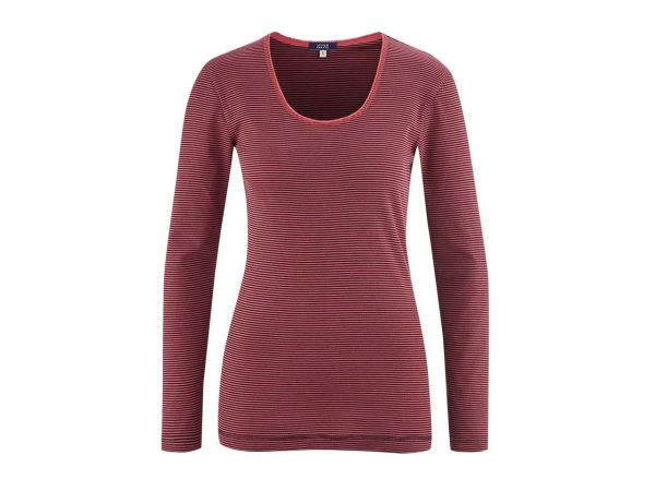 "Living Crafts Bio-Damen-Relaxshirt ""Chiara"" barolo gestreift, Gr. XS"