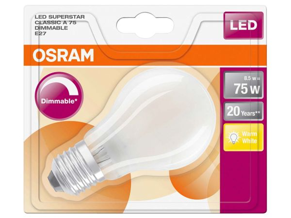 "OSRAM LED-Lampe ""Superstar Filament"" CLA 75, 8,5 W, E27, 1.055 lm, 840"