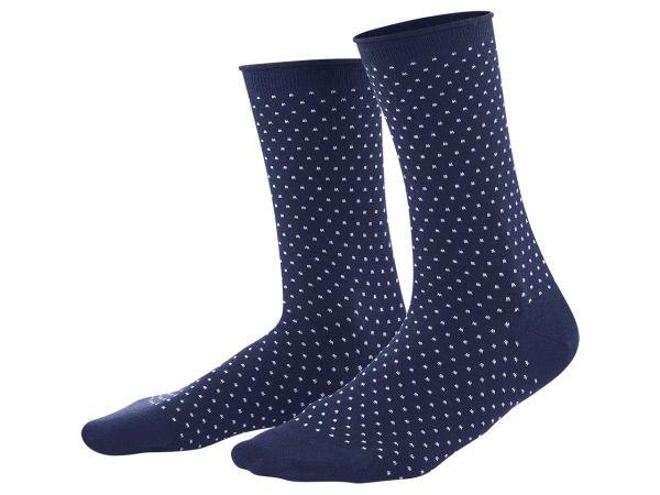 "Living Crafts 2er-Pack Bio-Damen-Socken ""Alexis"" ink blue/weiß, Gr. 39-42"