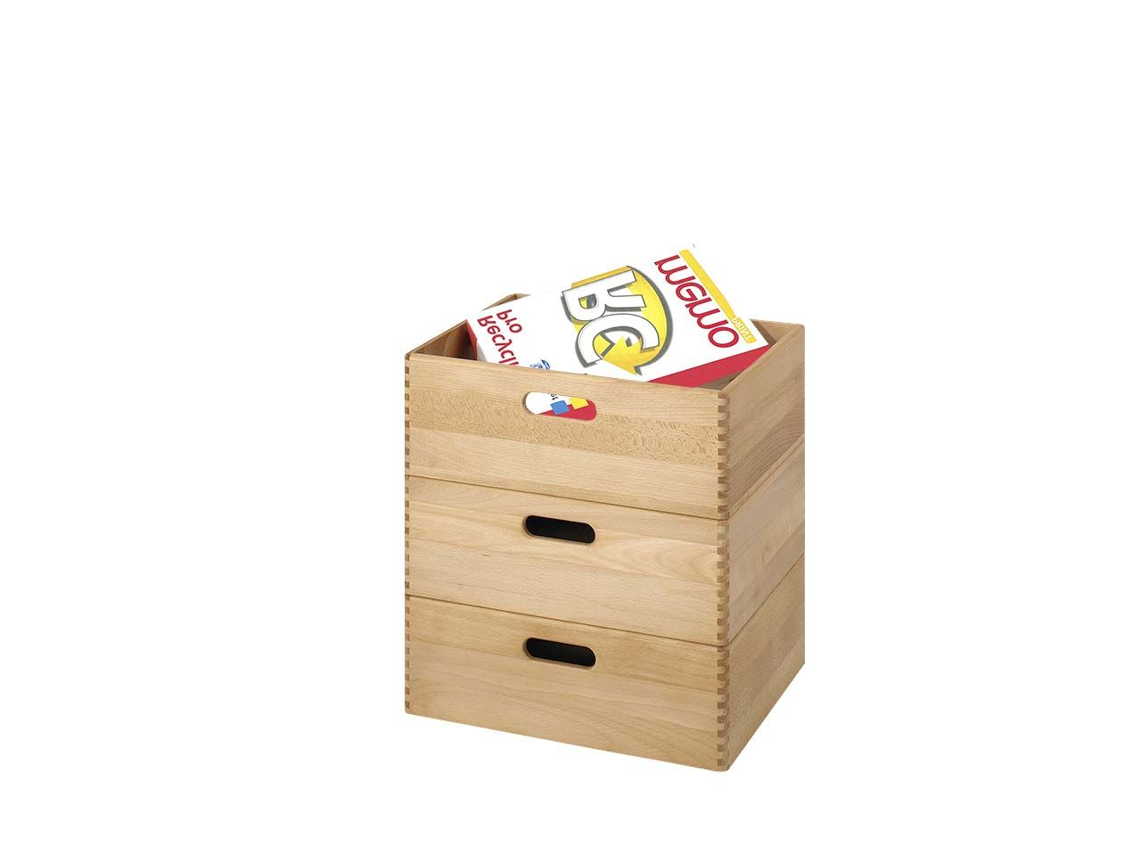 3er StapelBoxen-Set groß, massive Buche 3er StapelBoxen-Set 40x30x14