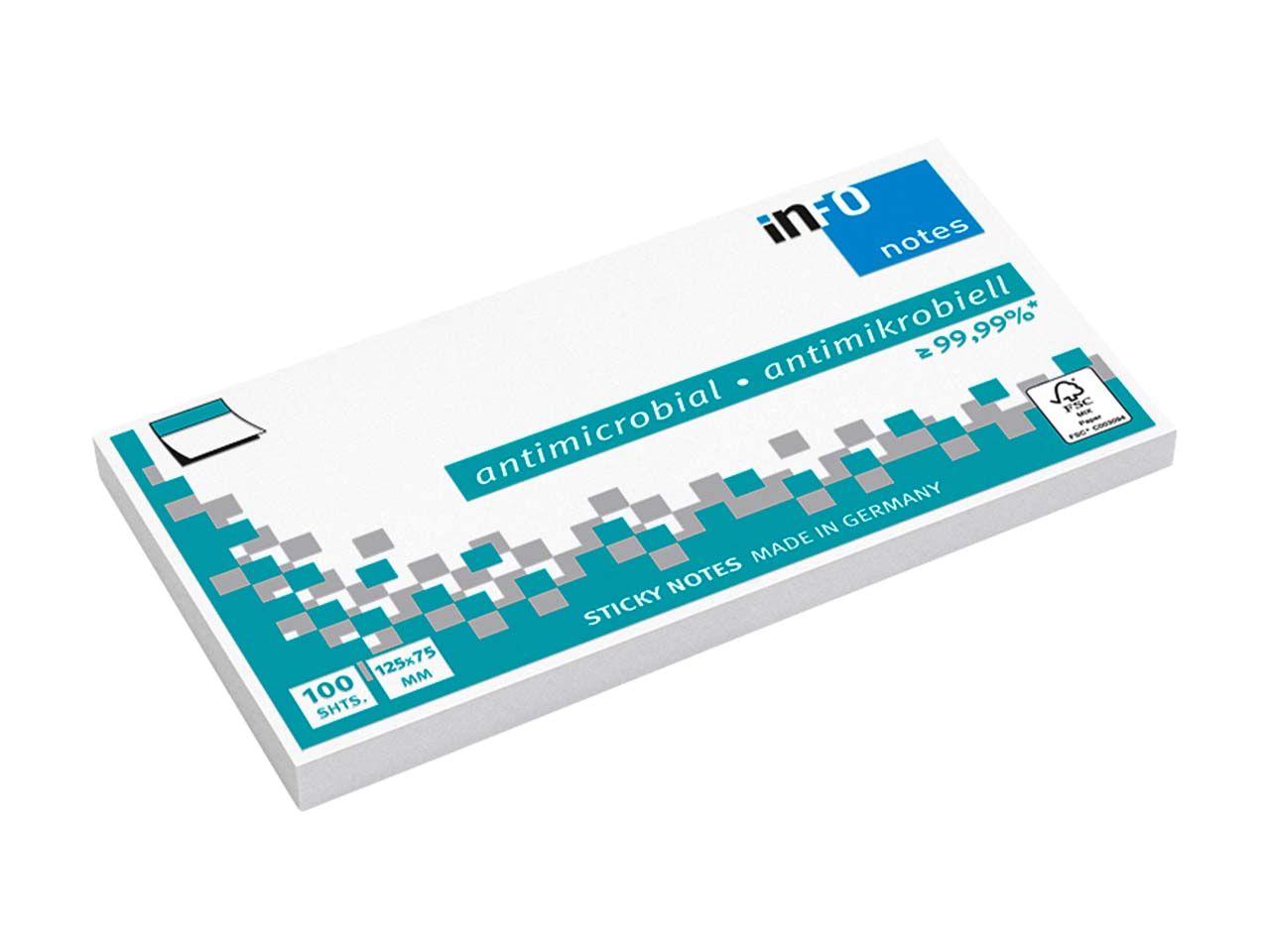Info Hygienische Haftnotizen antimikrobiell, 12 x 100 Blatt, 125 x 75 mm, weiß 5155-08