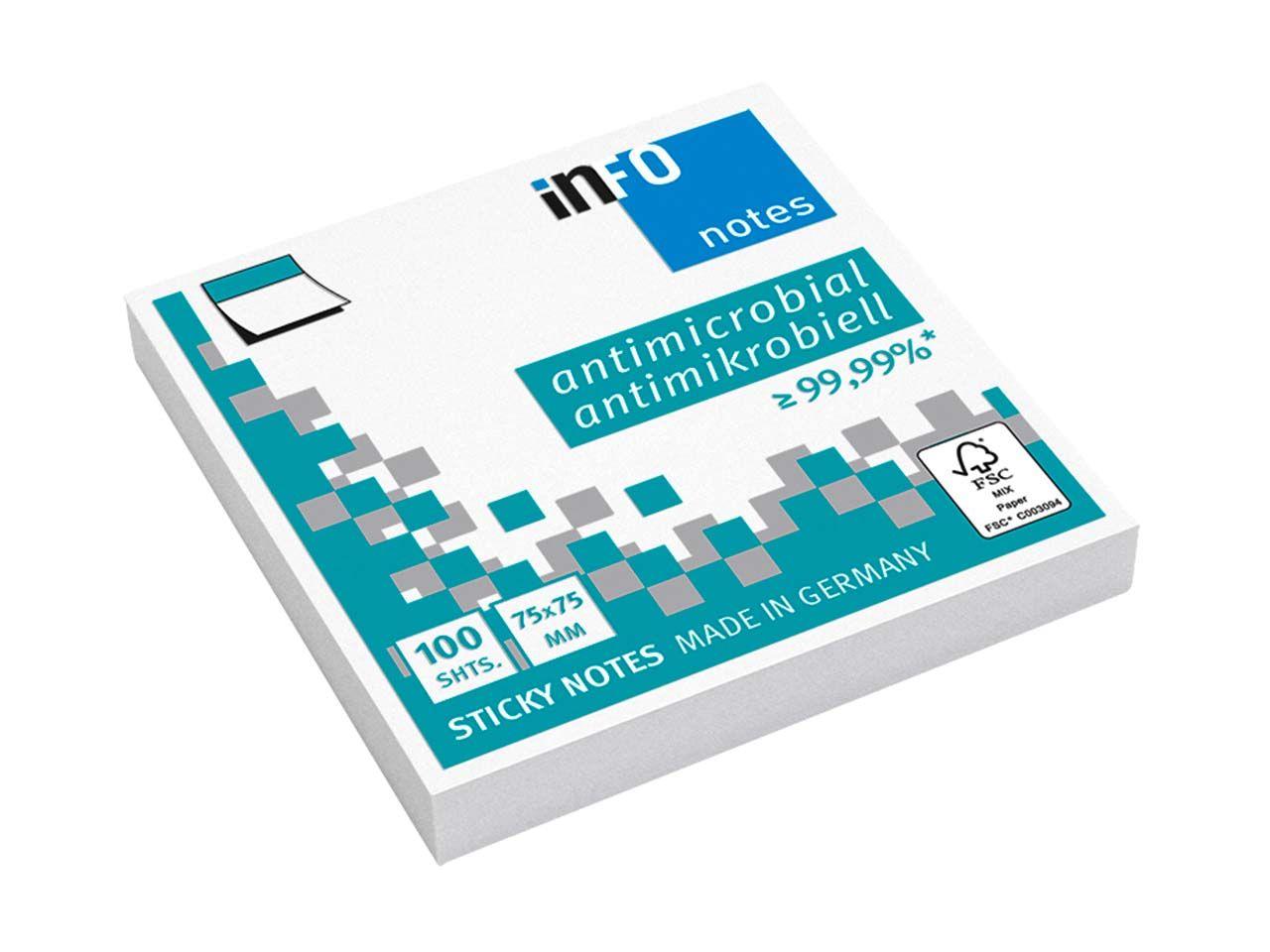 Info Hygienische Haftnotizen antimikrobiell, 12 x 100 Blatt, 75 x 75 mm, weiß 5154-08