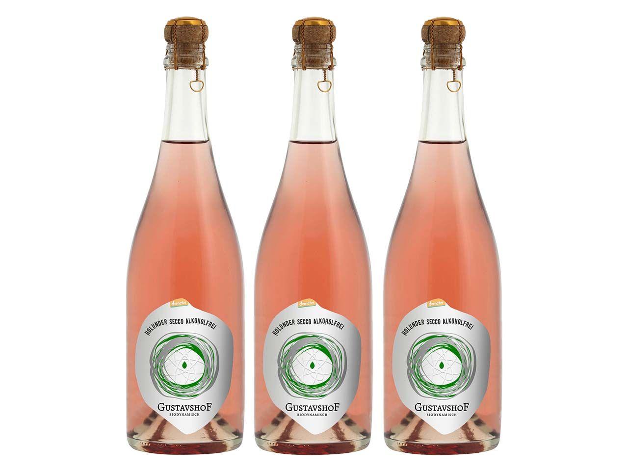 3er-Pack. Gustavshof Alkoholfreier Bio-Holunder-Secco 0,75 l