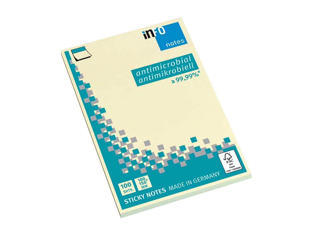 Info Hygienische Haftnotizen antimikrobiell, 12 x 100 Blatt, 100 x 150 mm, gelb 5169-01