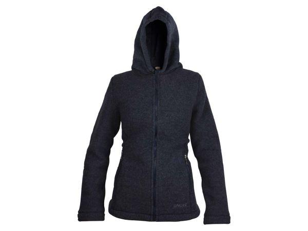 Engel Damen Fleece-Kapuzenjacke aus Bio-Merinowolle dunkelblau, Gr. 34/36