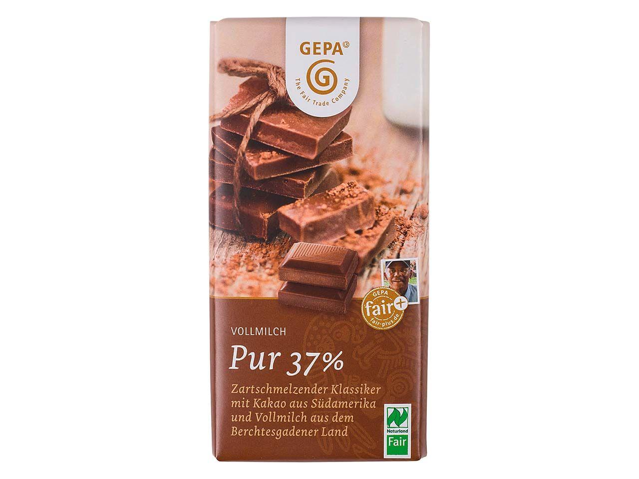 """GEPA Bio-Schokolade """"Vollmilch Pur 37%"""" 100 g 8951802"""