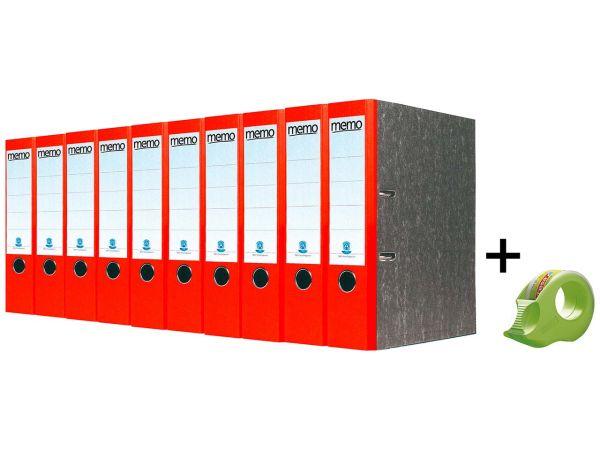 10 memo Recyclingordner 8 cm rot & tesa Mini-Klebebandabroller inkl. 2 Klebebänder