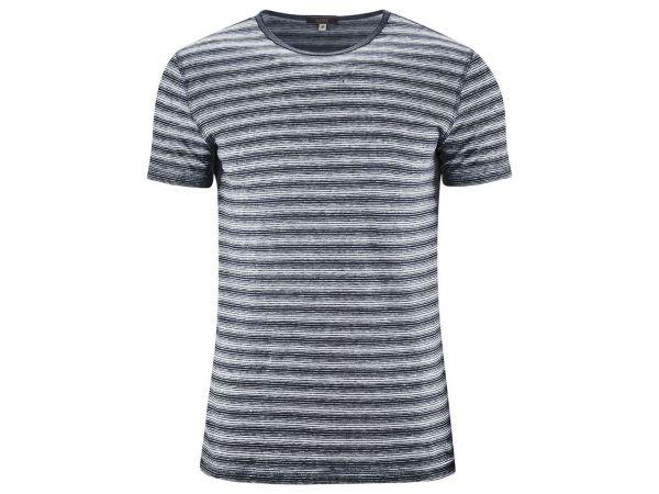 """Living Crafts Bio-Herren-T-Shirt """"Andy"""" aus Leinen ink blue/weiß gestreift, Gr. S"""