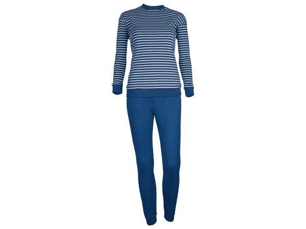 Living Crafts Kinderschlafanzug blau-weiß Gr. 104 aus kontrolliert biologischer Baumwolle