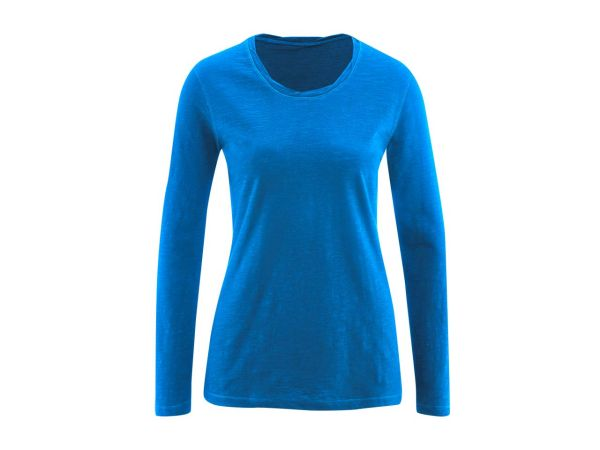 "Living Crafts Bio-Damen-Langarmshirt ""Bella"" royalblau, 155 g/m², Gr. XL"