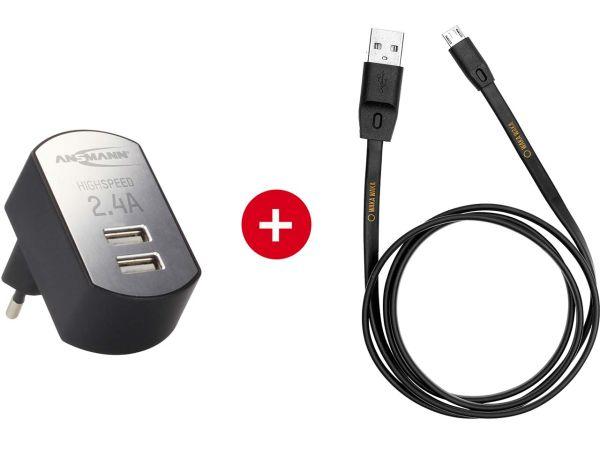 "Ansmann USB-Ladegerät ""iUSB Charger 2.4 DUO"" + WakaWaka Ladekabel mit Micro-USB"