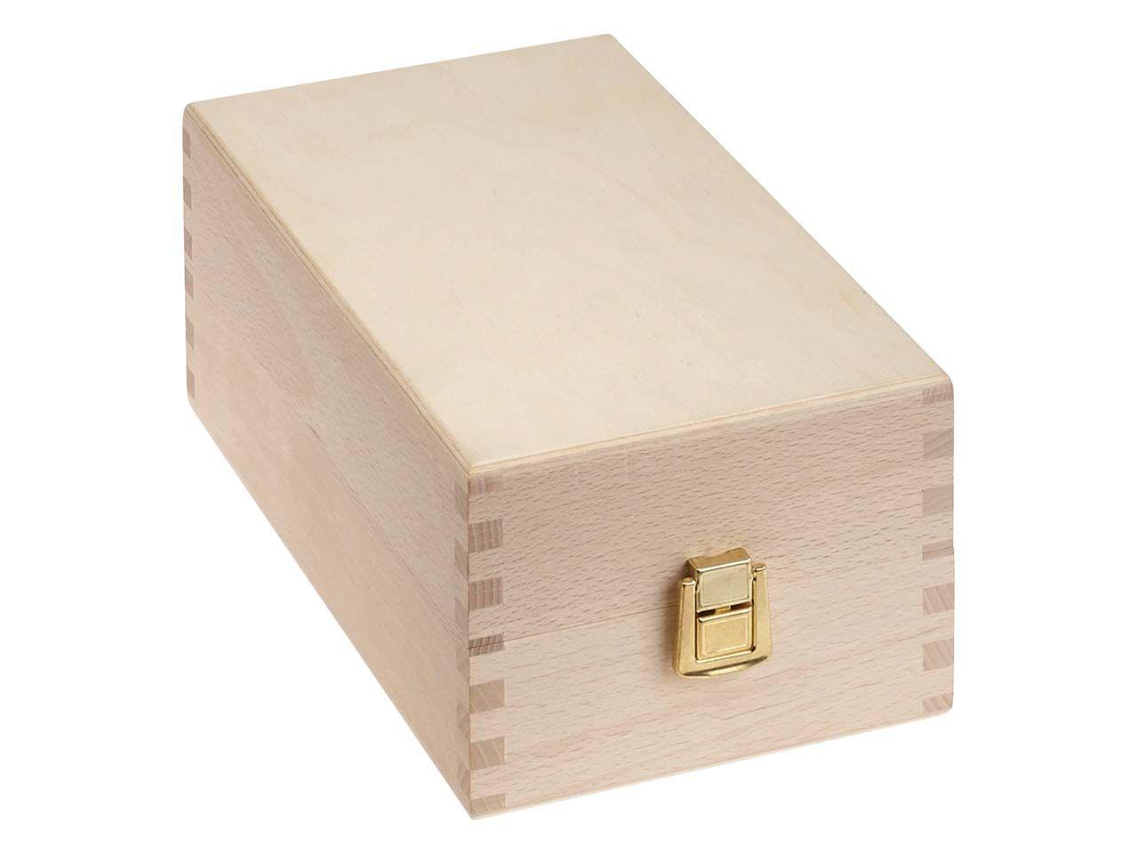 Holz-Karteikasten für DIN A7 mit Deckel, Buche Karteikasten + Deckel 14x10x25