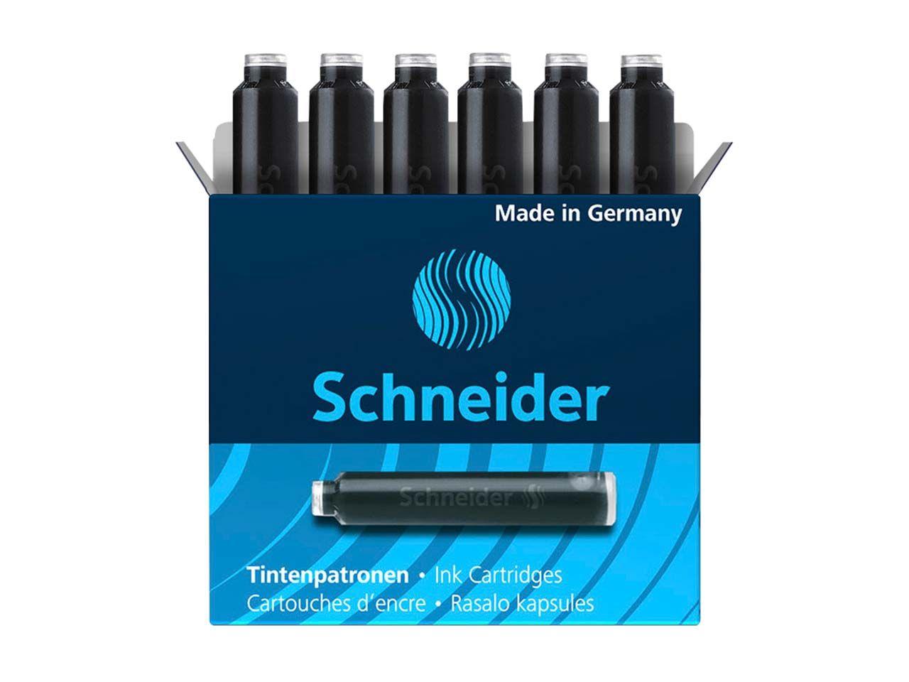 6 Schneider Tintenpatronen 6601 für Füller, schwarz 50-6601