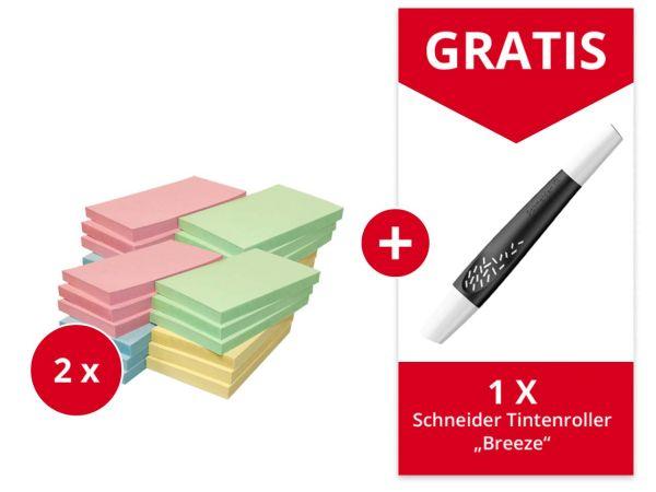 24er-Pack Info Haftnotizen 125 x 75 mm, farb. sortiert + Gratis Schneider Tintenrolle