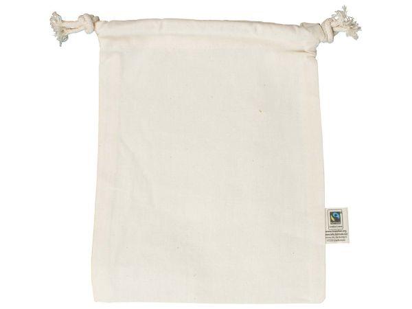 memo Bio-Baumwoll-Zuziehbeutel, mit Fairtrade-Siegel,natur,15x20cm