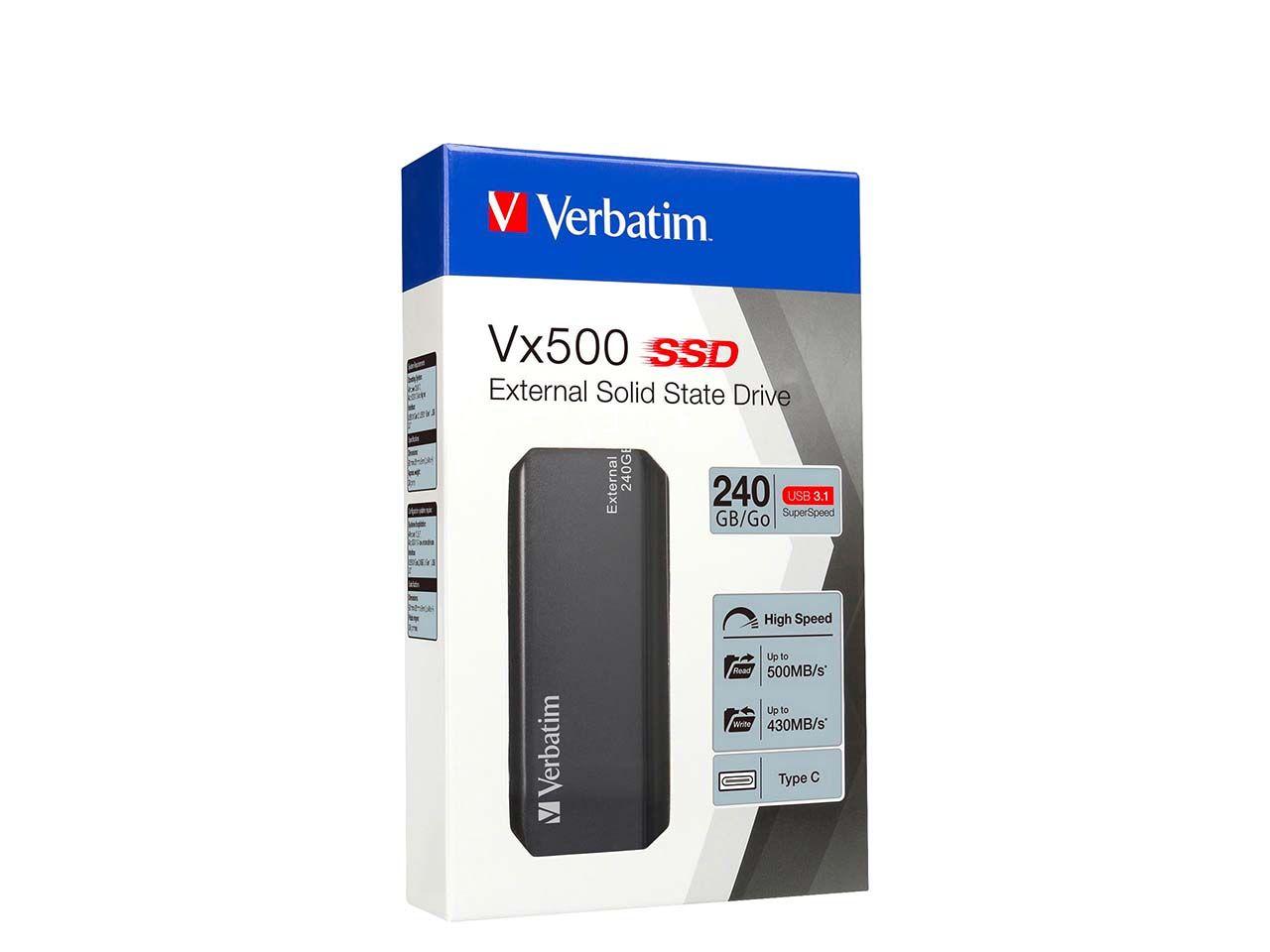 Verbatim Externe SSD Festplatte, USB 3.1, 240 GB, 1,8 Zoll