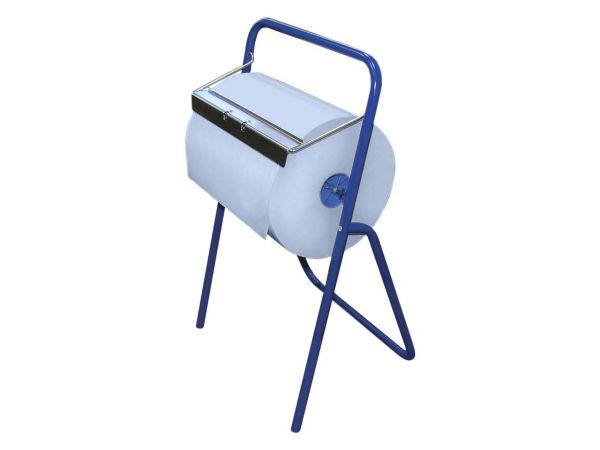 "Putzrolle ""Comfort"" aus Recyclingpapier 2 lagig, blau + Putzrollenhalter Standgerät"
