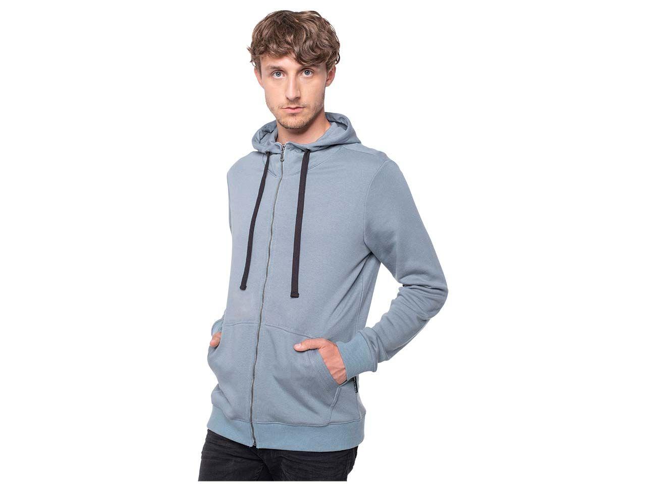 erdbär Herren-Zip-Hoody aus Lenzing Modal, goblin blue, Gr. XL H501