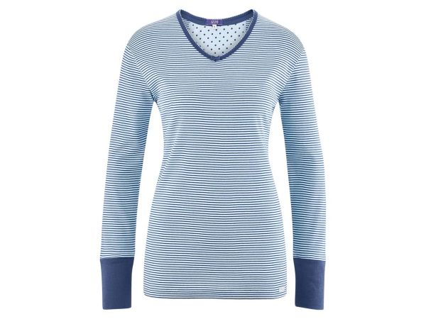 "Living Crafts Bio-Damen-Schlafshirt ""Beatrix"" bleu gestreift, Gr. XS"
