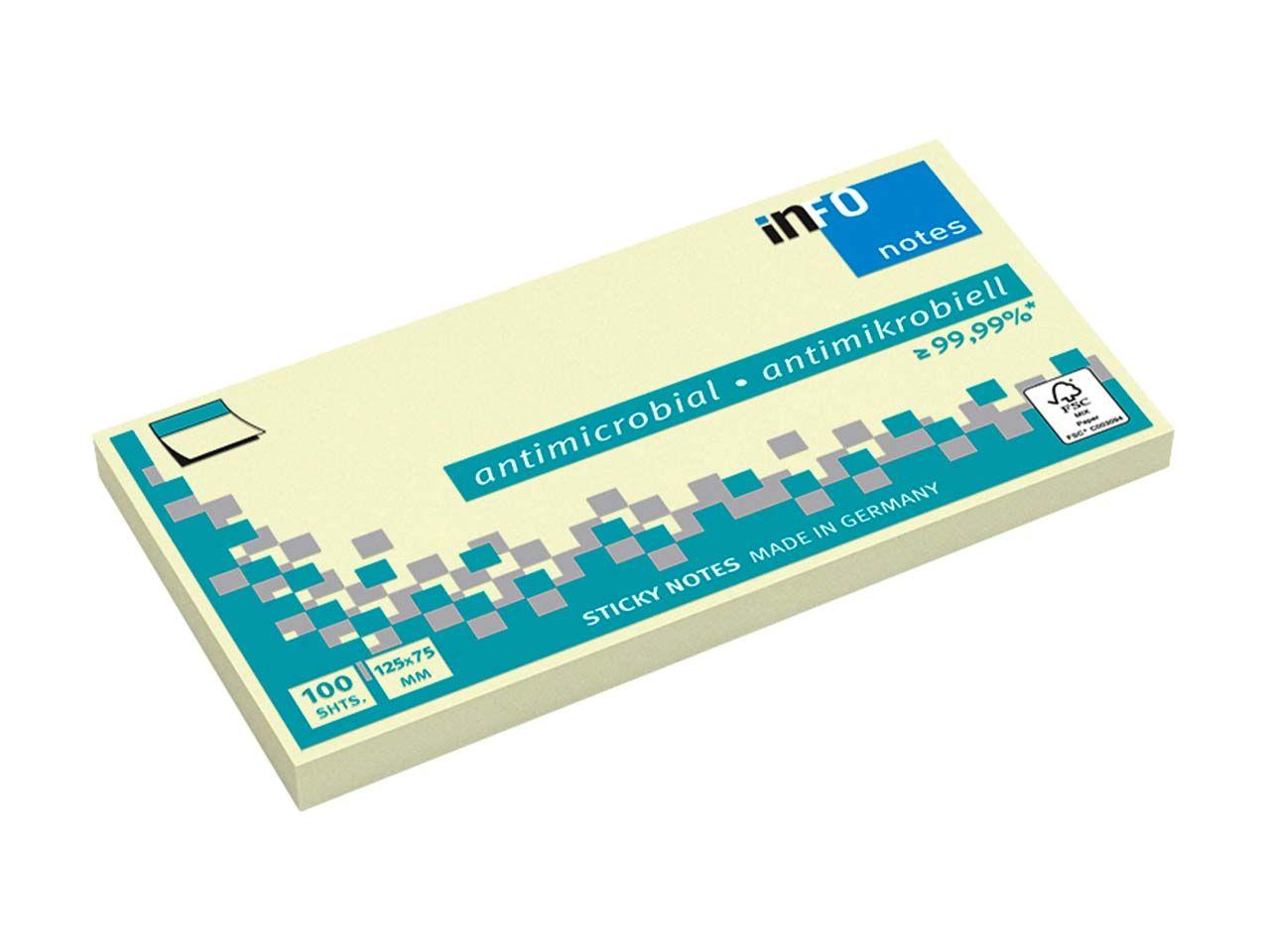 Info Hygienische Haftnotizen antimikrobiell, 12 x 100 Blatt, 125 x 75 mm, gelb 5155-01