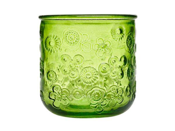 "Windlicht ""Flora"" aus Recyclingglas grün"