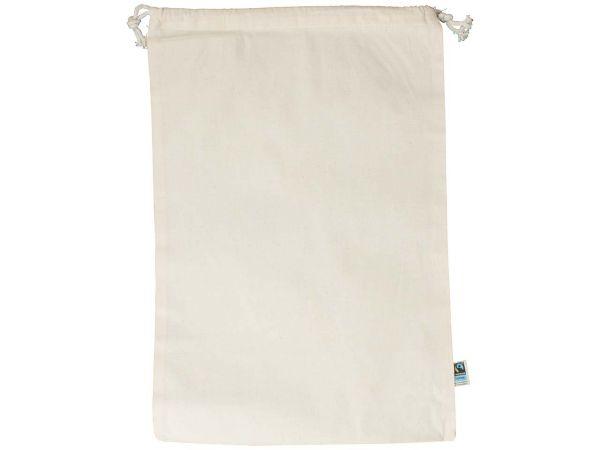 memo Bio-Baumwoll-Zuziehbeutel, mit Fairtrade-Siegel, natur, 30 x 45 cm
