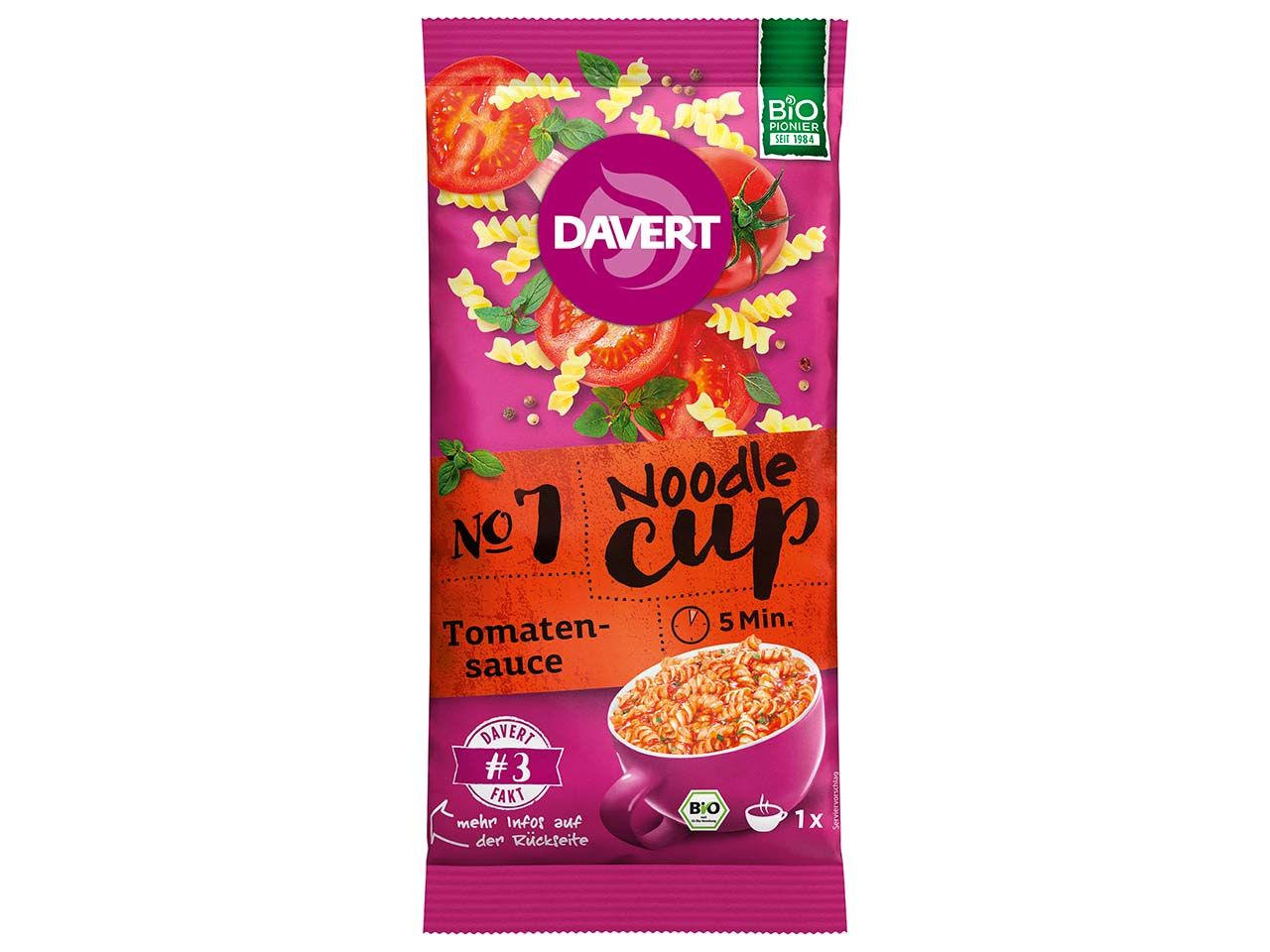 Davert Bio-Noodle-Cup Tomatensauce, 67 g 131064600