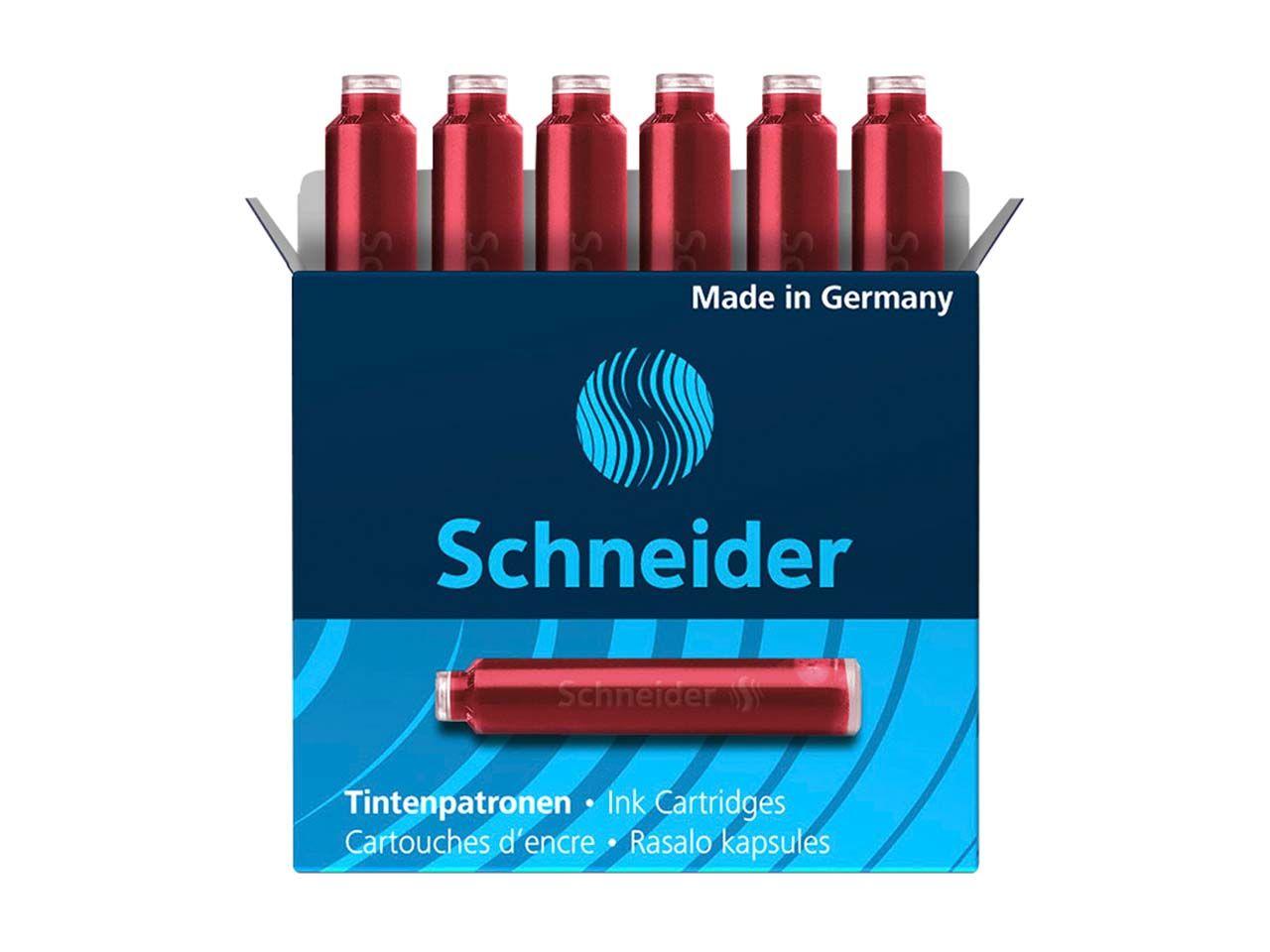 6 Schneider Tintenpatronen 6602 für Füller, rot 50-6602