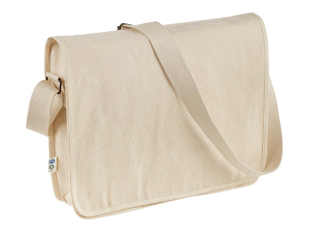 memo Bio-Baumwoll-Umhängetasche mit Fairtrade-Siegel, natur, 32,5 x 37 cm Flap Bag 37 x 32,5
