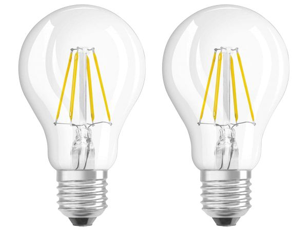 "2er-Pack OSRAM LED-Lampe ""Star Filament"" CLA 40, 4 W, E27, 470 lm, klar"